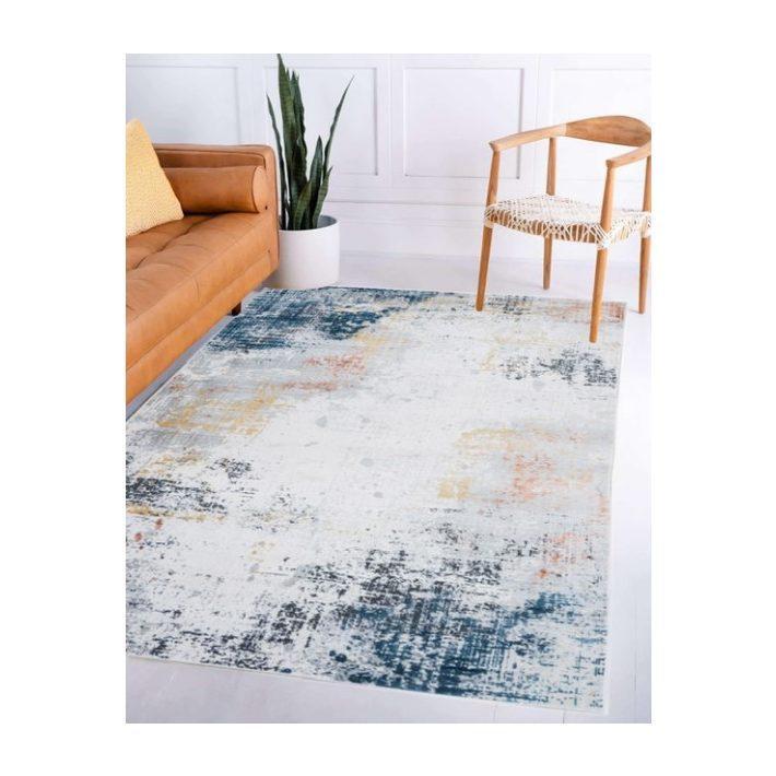 Kanada Modern mintázatú vastag nyírt szőnyeg terracotta-lila színben 67x140cm