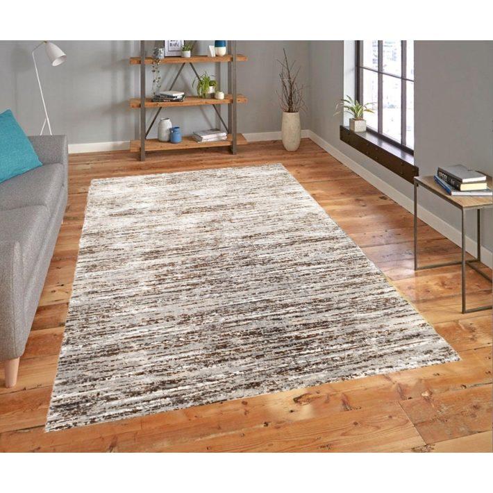 Kanada Modern mintázatú vastag szürke barna szőnyeg