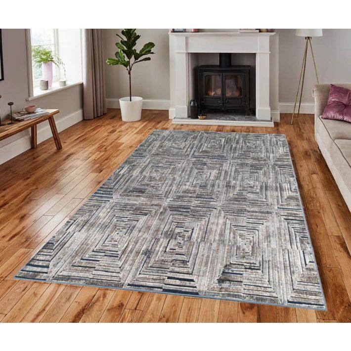 Eduarte vastag modern kék szőnyeg