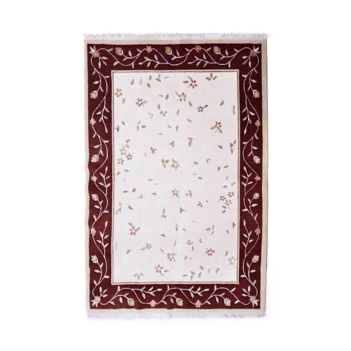 100% Gyapjú Százszorszép Eredeti Gyapjúszőnyeg bordó-krém 170 x 240 cm