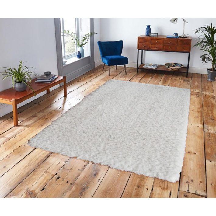 Bora Minőségi Vastag Shaggy szőnyeg hófehér színben 200 x 290 cm