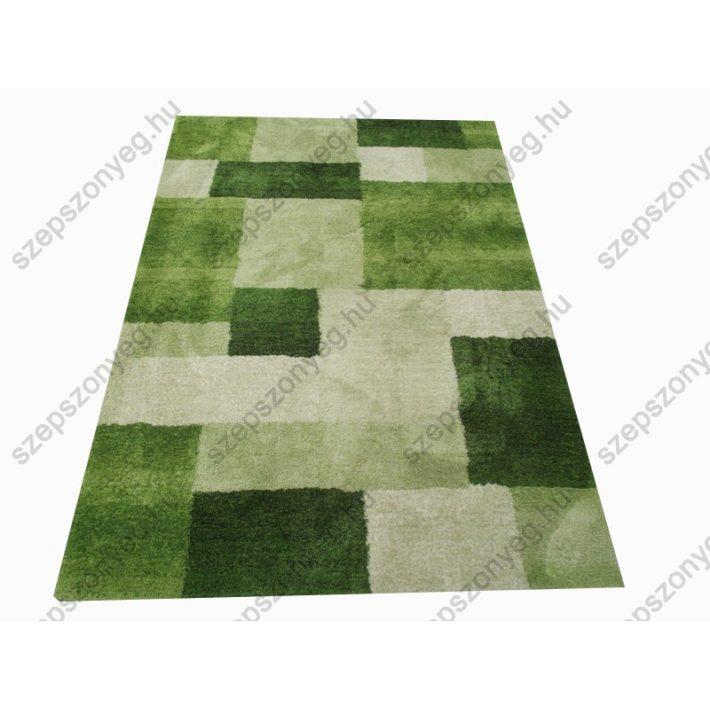 Kockás fehér zöld shaggy szőnyeg 170 x 240 cm