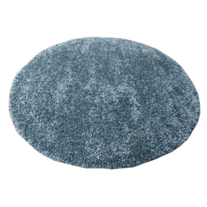 Barbados Oval-Kör alakú Azúr kék Shaggy szőnyeg 160 cm átmérő