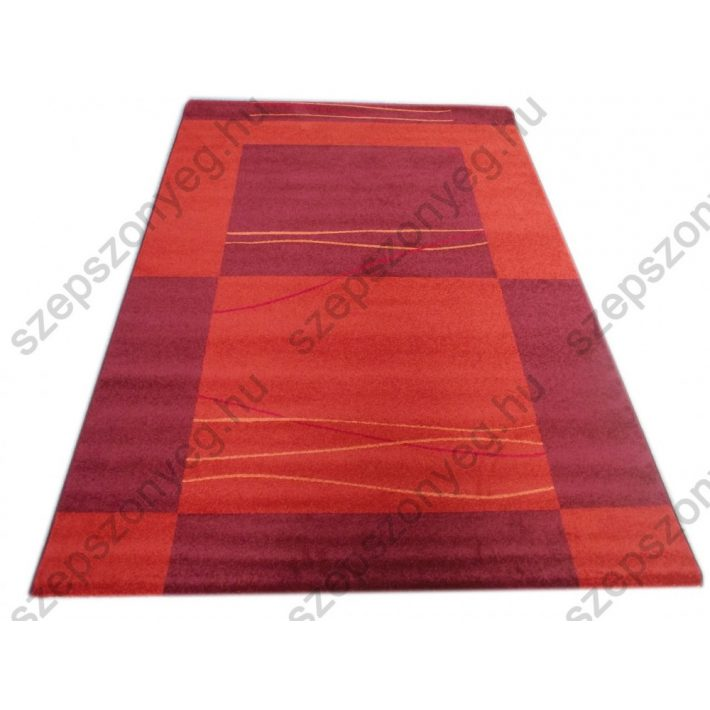 Kanada Modern mintázatú vastag nyírt szőnyeg terracotta-lila színben 200x290cm