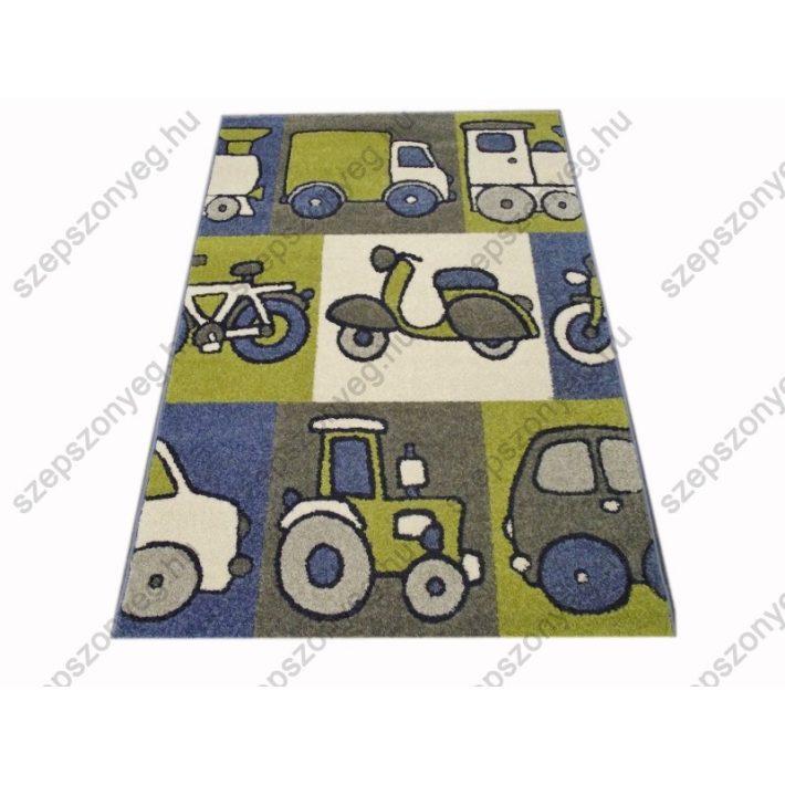 Jumbó Kék Járműves Nyírt Gyerekszőnyeg 160 x 230 cm