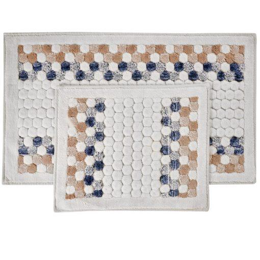Alexia 2 részes fürdőszoba szőnyeg szett Bézs Kék Prémium Kádkilépő
