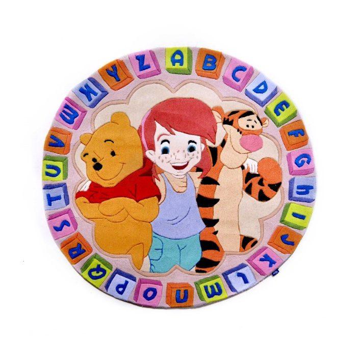 Disney Micimackó és Barátai kör alakú bézs Gyerekszőnyeg 150 cm átmérő