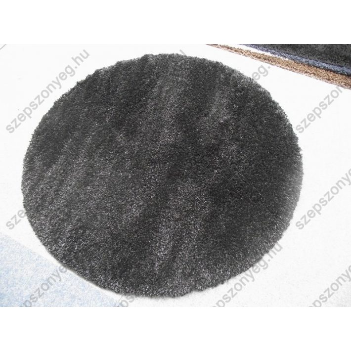 Szaffi Oval-Kör Shaggy szőnyeg fekete színben 160 cm