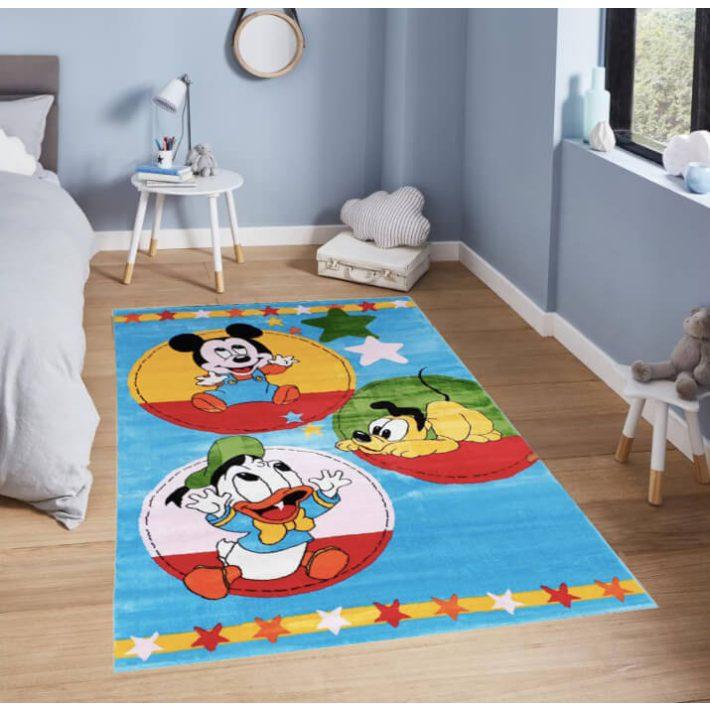 Mickey & Plútó & Donald Disney Gyerekszőnyeg Kék Színben